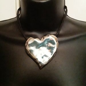 Jewelry - Women's Large Silver Heart Necklace